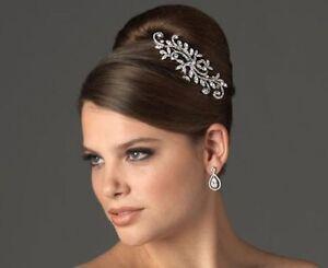 Austrian Crystal Flower Leaf Hair Comb Weddings Prom
