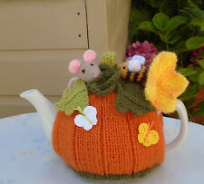 HAND KNITTED PUMPKIN MOUSE AND BEE TEA COSY FOR A MEDIUM TEAPOT