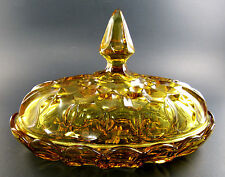 VINTAGE AMBER GLASS BUTTER DISH (E39)