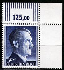 DR 802 B **, 5 RM Hitler Kammzähnung, Eckrand rechts oben