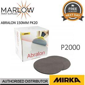 """Mirka Abralon 150mm 6"""" P2000 Grit HookNLoop Foam Fine Finishing Discs Pad  PK20"""