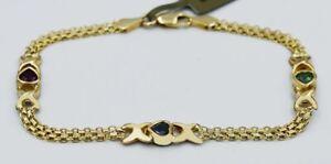 RUBY, EMERALD & BLUE ZIRCON BISMARK  BRACELET 10k GOLD - Free Shipping
