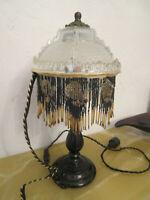 Glass Beaded Fringe Victorian Boudoir Single Table Lamp