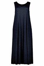ULLA POPKEN Jerseykleid gepunktet V-Ausschnitt ärmellos blau NEU