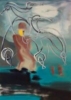 """Fishman: oil painting on canvas panel (19"""" x 27"""")"""