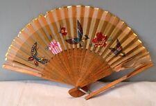 Antique Hand Painted Silk Butterfly Flower Gold Leaf Folding Fan JAPAN 1880