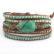 Fashion Leather Green Mixed Natural Stones Charm 5 Strands Beaded Wrap Bracelets