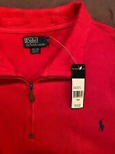 NWT $110 Polo Ralph Lauren Mens Long Sleeve Cotton Sweater Red 1/4 Zip 5X Big
