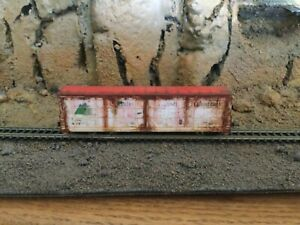 N Scale Red caboose thrall all door HTCX IDAHO FOREST PROD mtl cplrs WEATHERED