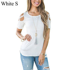 Sexy Summer Womens Strappy Cold Shoulder Tops Blouse Ladies Short Sleeve T-Shirt