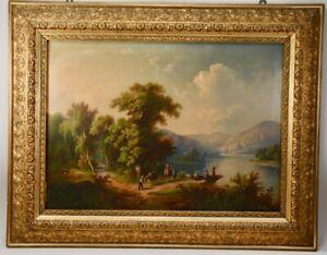 k42a10- Romantiker Gemälde, Guido HAMPE (1839-1902), Seelandschaft