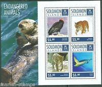 SOLOMON ISLANDS  2014 ENDANGERED SPECIES BIRD TIGER LEOPARD TURTLE  SHEET  MINT