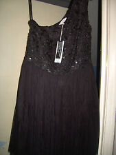 BNWT BLACK DRESS ONE SHOULDER DIAMOND BY JULIEN MACDONALD RRP 70 SIZE 14