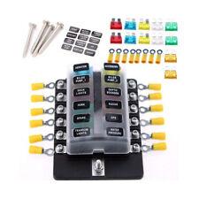12 Way Power Distribution Blade Fuse Holder Box Block Board LED Indicator Tool