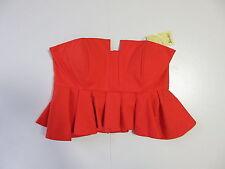 Women's BARDOT 'Frill Corset' Size 14 AU Strapless Crop Top Orange Brand New