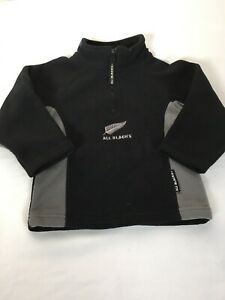 New Zealand All Blacks Rugby Fleece Logo Pullover Sweater Black Grey Toddler 2T
