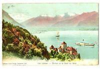 CPA Suisse lémanique Lac léman Château de Chillon et Dent du Midi