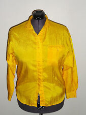 Vintage Women's Diane Von Furstenberg Bright Yellow Button Front Shirt Size: L