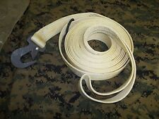 "nylon tow strap 1 3/4"" wide 25 ft long US MADE WHITE w hooked end and looped end"
