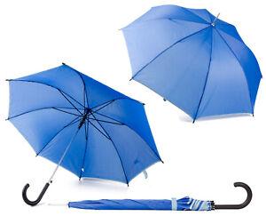 Womens Ladies Men Blue Lightweight Walking Umbrella W/ BUTTON Rain Sun Parasol