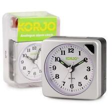 New Korjo Travel Analogue Alarm Clock Snooze Button Night Light Silver Sml AAC73