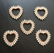 5 Rose Gold Heart Shaped Pearl Flatback Button Embellishment Craft Wedding