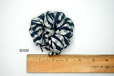 Silk Scrunchies Ponytail Holder Elastic Ties Hair Band Gray White Checkers 035
