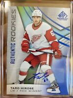 2019-20 SP GAME USED TARO HIROSE AUTHENTIC ROOKIES BLUE AUTO #176 RED WINGS SP