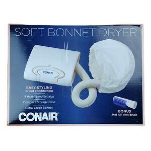 Conair Soft Bonnet Hair Dryer 4 Speeds Storage Case 6' Cord Hot Air Vent Brush