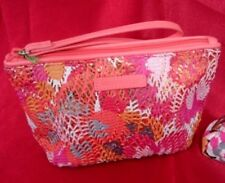Vera Bradley Pixie Blooms Summer Sparkle Wristlet Pink Orange Sequins NEW