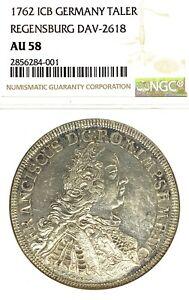 German States Regensburg 1762 Taler Coin Thaler NGC AU 58 VZ/F.STG CITY VIEW UNC