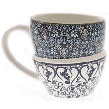 disney parks coffee cup mug mickey icon hearts indigo blues double stack new