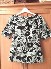 Monsoon Size 8 Sage Green And Black Patterned Short Sleeve Top Great Condition