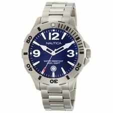 New Nautica Men BFD 101 Diver Steel Blue Dial Date Watch 45mm N14545G $145
