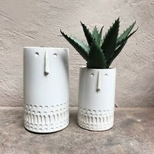 1 x Small White Ceramic Face / Head Plant Pot Vase Planter Gisela Graham Logan