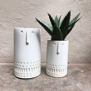 1 x Small White Ceramic Face / Head Plant Pot Vase Planter Gisela Graham Logan