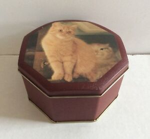 """Lovely Vintage Cats Design Tin Empty Box Container Made In Taiwan 5"""" W"""