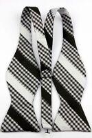 Black White Men's Elegant Self Bow Tie Wedding Bowtie + Handkerchief L079