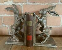 Pair of Bookends - Boxing Spring Hares - Grey - Vintage style distressed finish