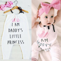 Cute Headband Baby Kids Girls Floral Jumpsuit Romper Bodysuit Outfit Set Clothes