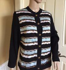 ST. JOHN EUC Black White Blue Brown Striped Cardigan Sweater Long M Wool Blend