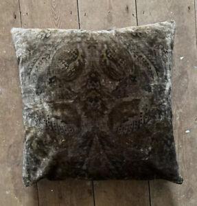 G P & J Baker Royal Damask Velvet Cushion Cover Bronze Charcoal Copper Paisley
