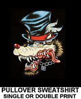 WILD LONE WOLF TOP HAT TATTOO WOLFMAN CHAIN BIKER PATCH PULLOVER SWEATSHIRT W52