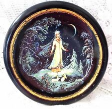 VINTAGE RUSSIAN FAIRY TALE PLATE THE SNOW MAIDEN 1990 IN JAPANNED WOODEN FRAME
