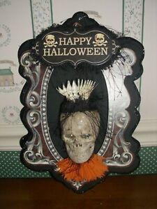 """BETHANY LOWE-HALLOWEEN-SKELETON WALL PLAQUE-LIGHTS UP!-NEW -12""""H"""