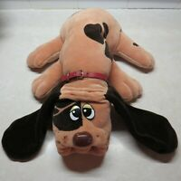 "Vintage 1985 Tonka Pound Puppies Large 18"" Hound Brown Spotted Plush collar dog"