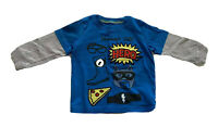Carter's Baby Boy 18M Long Sleeve Shirt Mommy's Little Hero Blue Gray Pizza