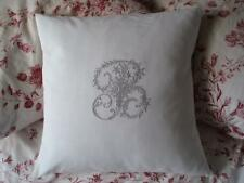 French Metis Linen Monogram Cushion Cover All Initials