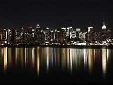 MIDTOWN MANHATTAN NIGHT CITYSCAPE REFLECTION ART PRINT POSTER PICTURE BMP845A