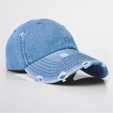 5e4ed2b5f13fd Vintage Distressed 100% Cotton Solid Polo Denim Baseball Cap Hat Ball Dad  Washed